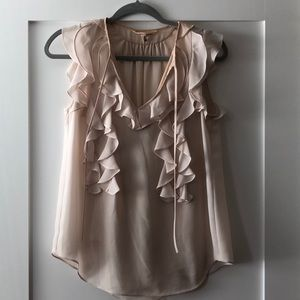 Rebecca Taylor pink ruffle tank with camisole sz 4